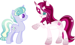 Size: 5698x3418   Tagged: safe, artist:babyroxasman, oc, oc only, oc:posey, oc:soul lotus, crystal pony, twinkle eyed pony, unicorn, colored hooves, female, glasses, mare, pointing, scrunchy face, simple background, transparent background, vector