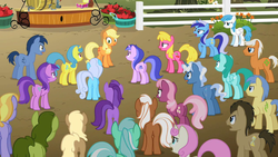 Size: 1280x720 | Tagged: amethyst star, angry, applejack, background pony, blues, cheerilee, cherry berry, cloud kicker, crowd, doctor whooves, earth pony, emerald green, female, goldengrape, green gem, lemon hearts, lightning bolt, linky, lyra heartstrings, male, mare, minuette, mjölna, noteworthy, oakey doke, pegasus, pokey pierce, pony, safe, seafoam, sea swirl, shoeshine, silver spanner, sir colton vines iii, sparkler, spring melody, sprinkle medley, stallion, the super speedy cider squeezy 6000, time turner, twinkleshine, unicorn, unnamed pony, white lightning