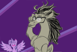 Size: 3000x2000 | Tagged: safe, artist:turkleson, discord, twilight sparkle, alicorn, abstract background, discolight, eris, female, glasses, half r63 shipping, lesbian, rule 63, shipping, sketch, twilight sparkle (alicorn)
