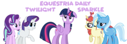 Size: 1000x350 | Tagged: safe, moondancer, rarity, starlight glimmer, trixie, twilight sparkle, alicorn, pony, unicorn, equestria daily, banner, counterparts, floppy ears, simple background, transparent background, twilight day, twilight sparkle (alicorn), twilight's counterparts