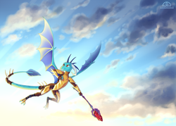 Size: 1575x1125 | Tagged: safe, artist:ladychimaera, princess ember, dragon, armor, bloodstone scepter, cloud, cloudy, dragon lord ember, dragoness, female, flying, sky, solo, spread wings, wings