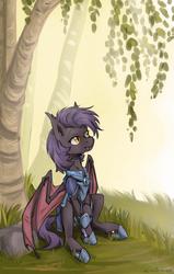Size: 1290x2028   Tagged: safe, artist:lonerdemiurge_nail, oc, oc only, oc:dawn sentry, bat pony, armor, bat wings, female, grass, mare, sitting, solo, tree