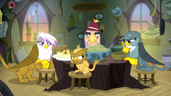 Size: 1280x720 | Tagged: blind eye, chickub, dinner, eye scar, fez, gabby, gilda, grampa gruff, griffon, griffon scone, grizzle, hat, safe, scar, screencap, stool, table, the hearth's warming club, upset