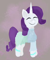 Size: 4057x4809 | Tagged: safe, artist:akuneanekokuro, rarity, pony, unicorn, absurd resolution, atg 2018, clothes, digital art, dress, eyes closed, female, mare, newbie artist training grounds, purple mane, smiling, solo, white coat