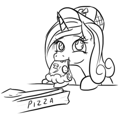 Size: 547x529 | Tagged: alicorn, artist:jargon scott, black and white, cadance's pizza delivery, eating, female, food, grayscale, hat, mare, meat, monochrome, mushroom, nom, peetzer, pepperoni, pepperoni pizza, pizza, pizza box, pizza delivery, pony, princess cadance, safe, simple background, solo, that pony sure does love pizza, this will end in heartburn, white background, wide eyes