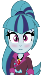 Size: 800x1400   Tagged: safe, editor:c64, sonata dusk, equestria girls, blushing, cute, gem, jewelry, looking at you, necklace, ponytail, siren gem, sonatabetes, vector