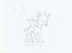Size: 1024x745   Tagged: safe, artist:hickory17, oc, oc only, oc:j.r., changeling, tails of equestria, black and white, changeling oc, commission, grayscale, male, monochrome, show accurate, simple background, solo, traditional art, white background