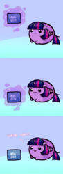 Size: 792x2176 | Tagged: safe, artist:pekou, twilight sparkle, alicorn, ask my little chubbies, ask, blob ponies, chibi, tumblr, twilight sparkle (alicorn), where have you been?
