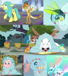 Size: 1860x2086 | Tagged: safe, screencap, gallus, ocellus, sandbar, silverstream, smolder, yona, biteacuda, bugbear, dragon, earth pony, fish, griffon, pony, pukwudgie, seapony (g4), yak, non-compete clause, school daze, .svg available, bugbear ocellus, changeling mega evolution, collage, cropped, disguise, disguised changeling, dragon ocellus, dragonellus, female, filly, flying, male, pony ocellus, seaponified, seapony ocellus, species swap, student six, svg, teenager, vector