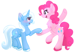 Size: 2056x1448 | Tagged: artist:tricks-up-my-sleeve, blushing, chest fluff, dancing, dead source, ear fluff, earth pony, female, lesbian, mare, pinkie pie, pony, safe, shipping, simple background, smiling, transparent background, trixie, trixiepie, unicorn, unshorn fetlocks