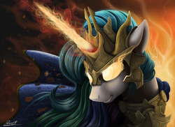 Size: 2200x1600 | Tagged: safe, artist:yakovlev-vad, princess celestia, alicorn, pony, angry, armor, badass, epic, female, fire, glare, glowing eyes, glowing horn, gritted teeth, magic, mare, rage, ragelestia, solo, this will end in fire, warrior, warrior celestia