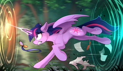 Size: 2400x1384 | Tagged: safe, artist:yakovlev-vad, twilight sparkle, alicorn, pony, rabbit, alice in wonderland, comb, female, glowing horn, gotta go fast, magic, mare, now you're thinking with portals, paper, pocket watch, portal, running, solo, sweat, sweatdrop, twilight sparkle (alicorn), watch
