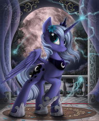 Size: 1600x1959 | Tagged: safe, artist:yakovlev-vad, princess luna, alicorn, pony, female, glowing horn, hoof shoes, jewelry, lightning, looking at you, magic, mare, moon, regalia, s1 luna, solo