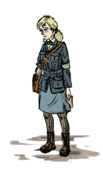 Size: 644x1080 | Tagged: artist:agm, clothes, derpy hooves, human, humanized, letter, mailmare, mud, safe, uniform