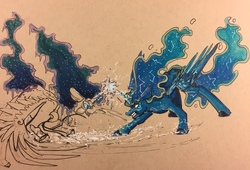 Size: 1280x869   Tagged: safe, artist:greyscaleart, nightmare moon, princess luna, alicorn, pony, female, fight, internal battle, magic, mare, partial color, traditional art