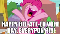 Size: 1280x720   Tagged: safe, edit, edited screencap, editor:useraccount, screencap, pinkie pie, spike, newbie dash, excessive exclamation marks, image macro, imminent vore, implied vore, meme, pun, vore day