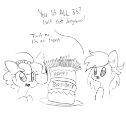 Size: 1552x1415 | Tagged: safe, artist:tjpones, edit, editor:dsp2003, oc, oc:brownie bun, oc:meadow stargazer, earth pony, pony, birthday cake, birthday gift art, cake, female, fire, food, lineart, mare, monochrome, simple background, sketch, this will end in death, this will end in fire, this will end in tears and/or death, traditional art, white background, xk-class end-of-the-kitchen scenario