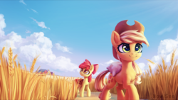 Size: 2000x1126 | Tagged: safe, artist:inowiseei, apple bloom, applejack, earth pony, pony, barn, bow, cloud, commission, cowboy hat, duo, duo female, female, filly, food, hat, haystick, mare, saddle bag, scenery, siblings, sisters, sky, smiling, stetson, sweet apple acres, wheat