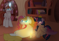 Size: 1024x727 | Tagged: safe, artist:sweets-macarons, prince blueblood, twilight sparkle, oc, alicorn, book, candle, crown, female, golden oaks library, infidelity, jewelry, male, offspring, parent:prince blueblood, parent:twilight sparkle, parents:twiblood, regalia, shipping, straight, twiblood, twilight sparkle (alicorn)