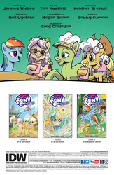 Size: 994x1528 | Tagged: safe, artist:pencils, idw, apple rose, auntie applesauce, goldie delicious, granny smith, rainbow dash, earth pony, pony, spoiler:comic, spoiler:comic70, female, gold horseshoe gals, mare, official comic, preview