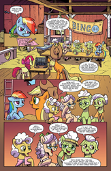 Size: 994x1528 | Tagged: safe, artist:pencils, idw, apple bloom, apple rose, applejack, auntie applesauce, goldie delicious, granny smith, rainbow dash, earth pony, pegasus, pony, spoiler:comic, spoiler:comic70, barn, bored, comic, faic, female, filly, gold horseshoe gals, lidded eyes, mare, official comic, preview, speech bubble