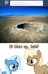 Size: 1280x1944 | Tagged: safe, artist:sintakhra, mjölna, trixie, pony, ask sandy pony, female, filly, filly trixie, meteor crater, younger