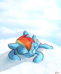 Size: 750x900 | Tagged: artist:sion, cloud, cute, dashabetes, female, mare, pegasus, pony, rainbow dash, safe, sleeping, smiling, solo