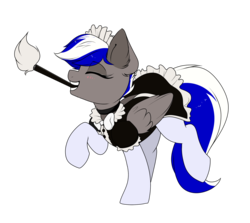 Size: 1952x1742   Tagged: safe, artist:confetticakez, oc, oc only, oc:bassy, pegasus, pony, bow, cleaning, clothes, crossdressing, cute, dancing, dress, eyes closed, femboy, folded wings, maid, male, ocbetes, simple background, socks, solo, stallion, stockings, thigh highs, transparent background, trap, uniform