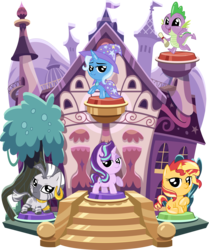 Size: 3729x4459 | Tagged: safe, artist:phucknuckl, part of a set, spike, starlight glimmer, sunset shimmer, trixie, zecora, dragon, pony, unicorn, zebra, my little pocket ponies, baby, baby dragon, building, cape, clothes, cute, diatrixes, ear piercing, earring, female, glimmerbetes, hat, jewelry, looking at you, male, mare, one hoof raised, open mouth, piercing, pocket ponies, set, shimmerbetes, simple background, sitting, small wings, smiling, smiling at you, spikabetes, standing, transparent background, tree, trixie's cape, trixie's hat, winged spike, wings, zecorable