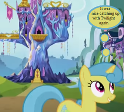 Size: 390x351   Tagged: safe, edit, edited screencap, screencap, lemon hearts, sounds of silence, cropped, implied twilight sparkle, school of friendship, text, thought bubble, twilight's castle, waterfall