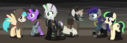 Size: 18692x6388   Tagged: safe, artist:rainbowsurvivor, oc, oc only, oc:desert storm (ice1517), oc:night flyer, oc:roxxane, oc:scarecrow (ice1517), oc:silver-shot, oc:tribal ink, bat pony, cyborg, pegasus, pony, unicorn, zebra, fallout equestria, absurd resolution, armor, bandage, boots, bottlecap, cloak, clothes, commission, cowboy hat, ear piercing, earring, fallout, fangs, female, gas mask, hat, hockey mask, hood, jewelry, male, mare, mask, noose, piercing, pipboy, pipbuck, power armor, rope, saddle bag, shoes, stallion, trenchcoat, vault suit