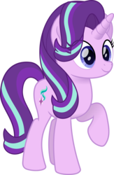 Size: 1660x2544 | Tagged: safe, artist:peahead, starlight glimmer, pony, unicorn, cute, cutie mark, eye clipping through hair, female, glimmerbetes, happy, mare, movie accurate, raised hoof, simple background, smiling, solo, transparent background, vector