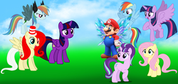 Size: 2787x1313 | Tagged: alicorn, artist:aethon056, artist:chrzanek97, artist:dashiesparkle, artist:magical-mama, artist:rainbinedashie, artist:skie-vinyl, artist:user15432, blue sky, brutalight sparcake, cloud, crossover, elements of insanity, fairy, fairy wings, fluttershout, fluttershy, grass, maridash, mario, marioshy, oc, pegasus, pony, rainbine, rainbine ears, rainbow dash, safe, starlight glimmer, super mario bros., super smash bros., twilight sparkle, twilight sparkle (alicorn), unicorn, wings