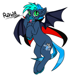 Size: 1276x1372 | Tagged: safe, artist:spoopygander, oc, oc only, oc:shiver, vampire, cape, chest fluff, chibi, clothes, colored wings, commission, cute, cutie mark, ear fluff, flying, looking at you, male, markings, mlem, multicolored hair, multicolored wings, silly, simple background, smiling, solo, stallion, text, tongue out, transparent background, unshorn fetlocks