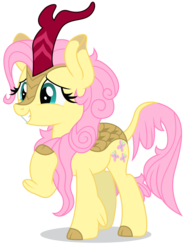 Size: 5229x7071 | Tagged: safe, artist:dragonchaser123, fluttershy, kirin, sounds of silence, absurd resolution, cute, female, grin, kirin fluttershy, kirin-ified, leonine tail, mare, pointing at self, shyabetes, simple background, smiling, solo, species swap, transparent background