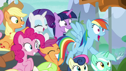 Size: 1280x720   Tagged: safe, screencap, applejack, bon bon, lyra heartstrings, pinkie pie, rainbow dash, rarity, scootaloo, sweetie drops, twilight sparkle, alicorn, earth pony, pegasus, pony, unicorn, the washouts (episode), cheering, fangirling, female, grin, irrational exuberance, mare, open mouth, rainbow dash is best facemaker, smiling, twilight sparkle (alicorn)