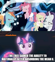 Size: 500x562 | Tagged: safe, edit, edited screencap, screencap, mean applejack, mean fluttershy, mean pinkie pie, mean rainbow dash, mean rarity, tree of harmony, pony, the mean 6, what lies beneath, clone, dying, fan theory, female, mare, op might be on to something, sparkles, theory, treelight sparkle, you ruined everything