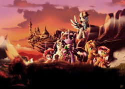 Size: 7016x4961 | Tagged: absurd res, alicorn, applejack, artist:ruhisu, canterlot, dragon, earth pony, fluttershy, group, mane seven, mane six, open mouth, pegasus, pinkie pie, pony, rainbow dash, raised hoof, rarity, safe, scenery, spike, twilight sparkle, twilight sparkle (alicorn), unicorn, winged spike