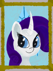 Size: 4960x6632 | Tagged: safe, artist:akuneanekokuro, rarity, pony, unicorn, absurd resolution, blue eyes, female, mare, purple mane, simple background, smiling, solo, white coat