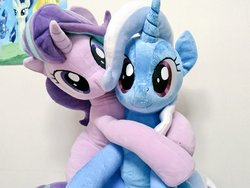Size: 1024x768   Tagged: safe, artist:nekokevin, starlight glimmer, trixie, pony, unicorn, series:nekokevin's glimmy, best friends, cute, diatrixes, duo, female, glimmerbetes, hug, irl, looking at you, mare, photo, plushie, poster, sitting, smiling