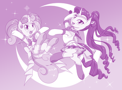 Size: 3628x2692 | Tagged: safe, artist:dstears, rarity, sweetie belle, pony, unicorn, beautiful, clothes, cosplay, costume, crescent moon, cute, duo, female, filly, mare, monochrome, moon, pose, pretty, purple, reference, sailor moon, sailor scout, sailor senshi, sailor uniform, siblings, sisters, smiling