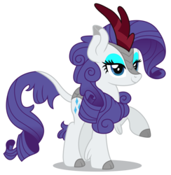 Size: 6033x6176 | Tagged: safe, artist:dragonchaser123, rarity, kirin, sounds of silence, absurd resolution, cloven hooves, cute, female, kirin rarity, kirin-ified, leonine tail, lidded eyes, mare, raised hoof, raribetes, simple background, smiling, solo, species swap, transparent background