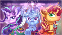 Size: 3800x2159 | Tagged: safe, artist:ilynalta, starlight glimmer, sunset shimmer, trixie, pony, unicorn, clothes, counterparts, female, high res, horn ring, looking at you, magic, magical trio, mare, open collaboration, printable, smiling, speedpaint available, trio, twilight's counterparts, underhoof