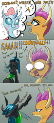 Size: 1200x2712 | Tagged: artist:underpable, bipedal, blushing, blush sticker, changedling, changeling, changeling queen, cheek squish, comic, cute, cutealis, cute bug noises, dab, dank, descriptive noise, dialogue, diaocelles, disguise, disguised changeling, dragon, exclamation point, eye bulging, female, frown, gray background, interrobang, lidded eyes, ocellus, queen chrysalis, question mark, raised hoof, rubbing, sad, safe, scene interpretation, screaming, sharp teeth, shivering, shocked, simple background, sitting, smiling, smolder, squishy cheeks, surprised, :t, teary eyes, teeth, text, thought bubble, tongue out, what lies beneath, wide eyes, wild take