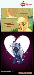 Size: 1919x4225   Tagged: safe, artist:estories, applejack, oc, oc:silverlay, earth pony, pony, unicorn, comic:a(pple)ffection, comic, friendzone, heartbreak