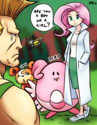 Size: 1041x1347 | Tagged: artist:megasweet, beautifly, blissey, capcom, colored, color edit, colorist:ironhades, crossover, edit, fluttershy, guile, human, humanized, pokémon, pokémon black and white, professor juniper, safe, street fighter, teddiursa