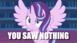 Size: 1280x720   Tagged: safe, artist:forgalorga, edit, starlight glimmer, alicorn, alicornified, caught, image macro, looking at you, meme, nothing to see here, race swap, starlicorn, xk-class end-of-the-world scenario