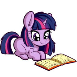 Size: 512x512 | Tagged: safe, artist:anibaruthecat, twilight sparkle, pony, unicorn, book, cute, female, filly, filly twilight sparkle, reading, simple background, solo, transparent background, twiabetes, younger