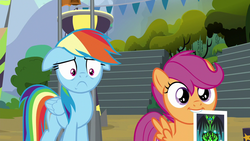 Size: 1280x720   Tagged: safe, screencap, rainbow dash, scootaloo, the washouts (episode), floppy ears, mouth hold, photo, sad face