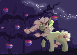 Size: 4900x3500 | Tagged: apple, artist:compassrose0425, earth pony, family appreciation day, female, food, granny smith, mare, pony, safe, scene interpretation, solo, younger, young granny smith, zap apple